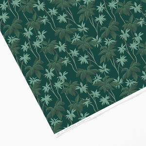 Vintage Green Tropical Palm Tree Wrapping Paper