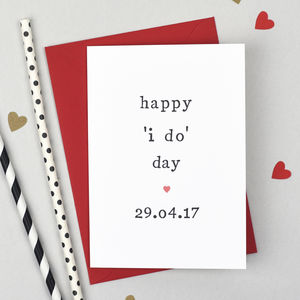 Personalised 'Happy 'I Do' Day' Wedding Day Card - wedding cards