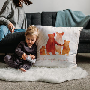 Personalised Bear Family Faux Suede Cushion - 2nd anniversary: cotton