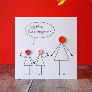 'Love You Step Mum' Button Card - stepmother cards