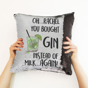 Personalised Gin Lovers Sequin Cushion Cover - bedroom