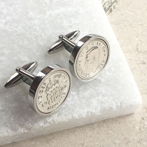 Personalised Sixpence 1928 To 1967 Cufflinks - sale
