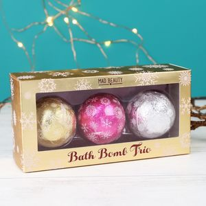 Set Of Three Festive Bath Bombs - christmas gift sets