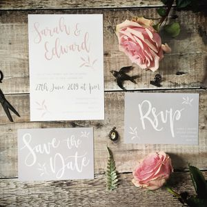Pastel Pink Botanical Wedding Stationery - personalised