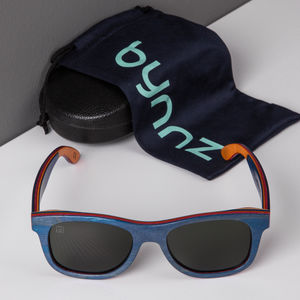 'Sandford' Blue Wooden Sunglasses - women's