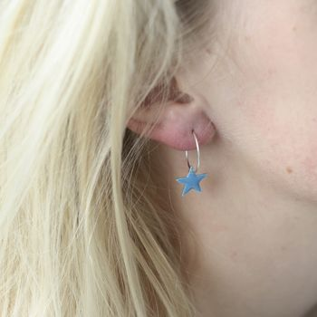 Pop Of Colour Star Sterling Silver Earrings