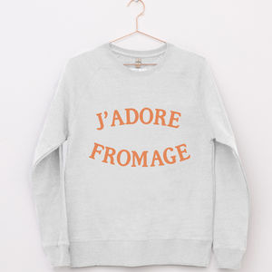 'J'adore Fromage' Funny Sweatshirt Jumper - women's fashion