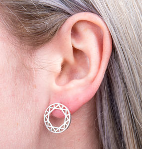 Geometric Circle And Hexagon Earrings