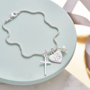 Silver Cross Birthstone Personalised Bracelet - more