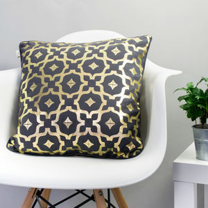 Metallic Cushion In Grey And Gold