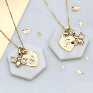 Personalised Gold Bee And Honeycomb Heart Necklace - necklaces & pendants