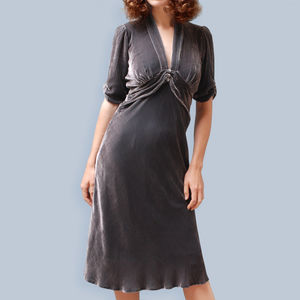 1940s Style Silk Velvet Dress In Mink