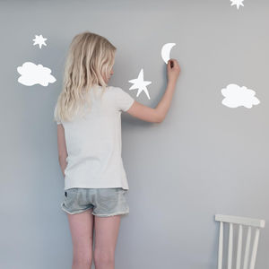 Clouds And Stars White Wall Stickers For Kids