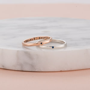 Personalised 9ct Gold Sapphire Stacker Ring - rings