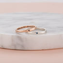 Personalised 9ct Gold Sapphire Stacker Rings (9ct white and rose gold with black letter finish featured)