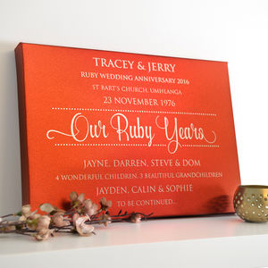 Personalised Ruby Anniversary Red Metallic Canvas - canvas prints & art
