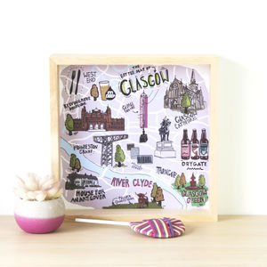 The 'Little Map Of Glasgow' Illustrated Print