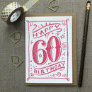 60th Birthday 60th Card Pink Chalk