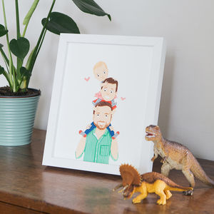 Personalised Piggyback Family Portrait - gifts for the lucky few