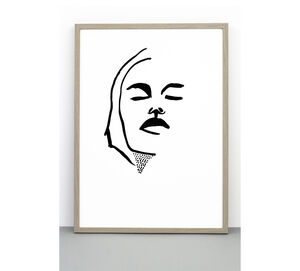 Print Portrait #Three, Face Poster, Line Drawing