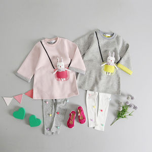 Bunny Pocket Tunic And Pom Pom Leggings Set - dresses