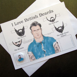 British Beards Greetings Card And Badge