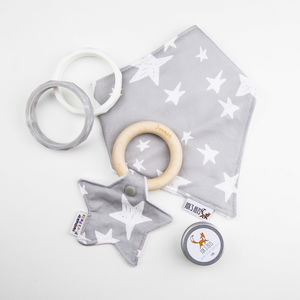 Personalised Star Shaped Teething Ring Grey