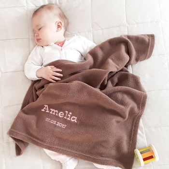 Personalised Mocha Fleece Baby Blanket