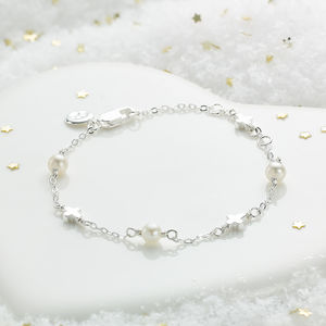 Girls Pearl And Cross Bracelet