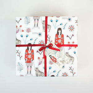 Gift Wrapping Paper Girl With Husky