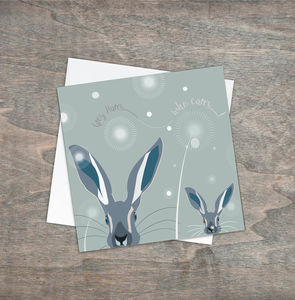 Hare Greetings Card Grey Hares Who Cares