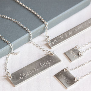 Sterling Silver Engraved Bar Necklace - necklaces & pendants