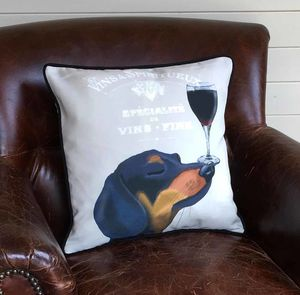 Dachshund Cushion, Dog Au Vin Wine Gift