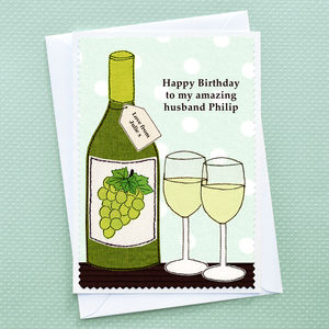 'Birthday Wine' Personalised Card