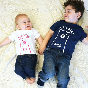 Personalised Little And Baby Bear Tshirt Set