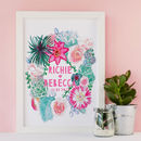 Personalised Botanical Succulents Wedding Print