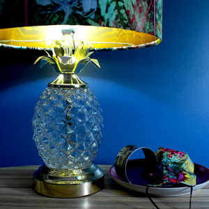 Tropical Glass Pineapple With Golden Leaves Lamp Stand