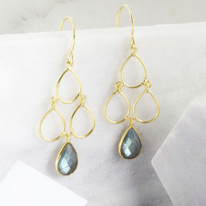 18ct Gold Vermeil Labradorite Decco Earrings - our top mother's day gifts