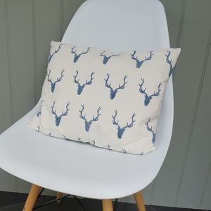 Hand Printed Stag Cushion