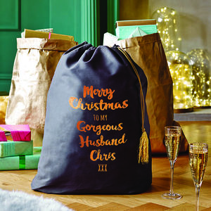 Personalised Christmas Sack With Copper Print - stockings & sacks