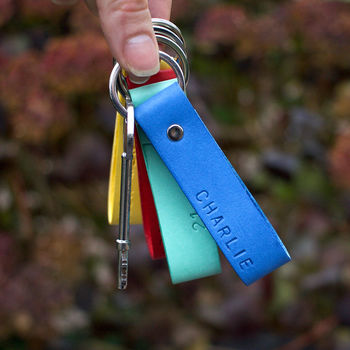 Colourful Personalised Leather Keyring
