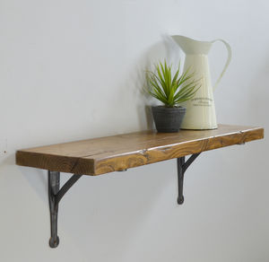 Reclaimed Wood Shelf With Iron Brackets - office & study