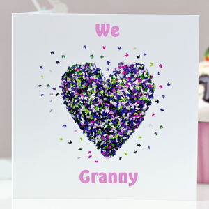 We Love Granny Butterfly Heart Card - birthday cards