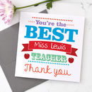 Personalised Best Teacher Card