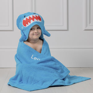 Personalised Sherman Shark Hooded Towel - whatsnew