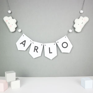 Personalised Name Bunting With Clouds And Mini Pom Poms