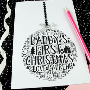 Daddy's First Christmas Daughter Bauble Card - cards & wrap