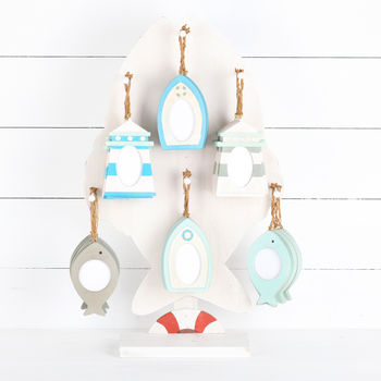 Set Of Three Mini Coastal Hanging Photo Frames