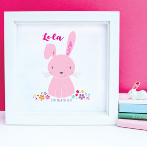 Personalised Baby Girl Rabbit Framed Artwork - baby's room