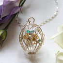 Silver And Gold Emerald Bear Locket